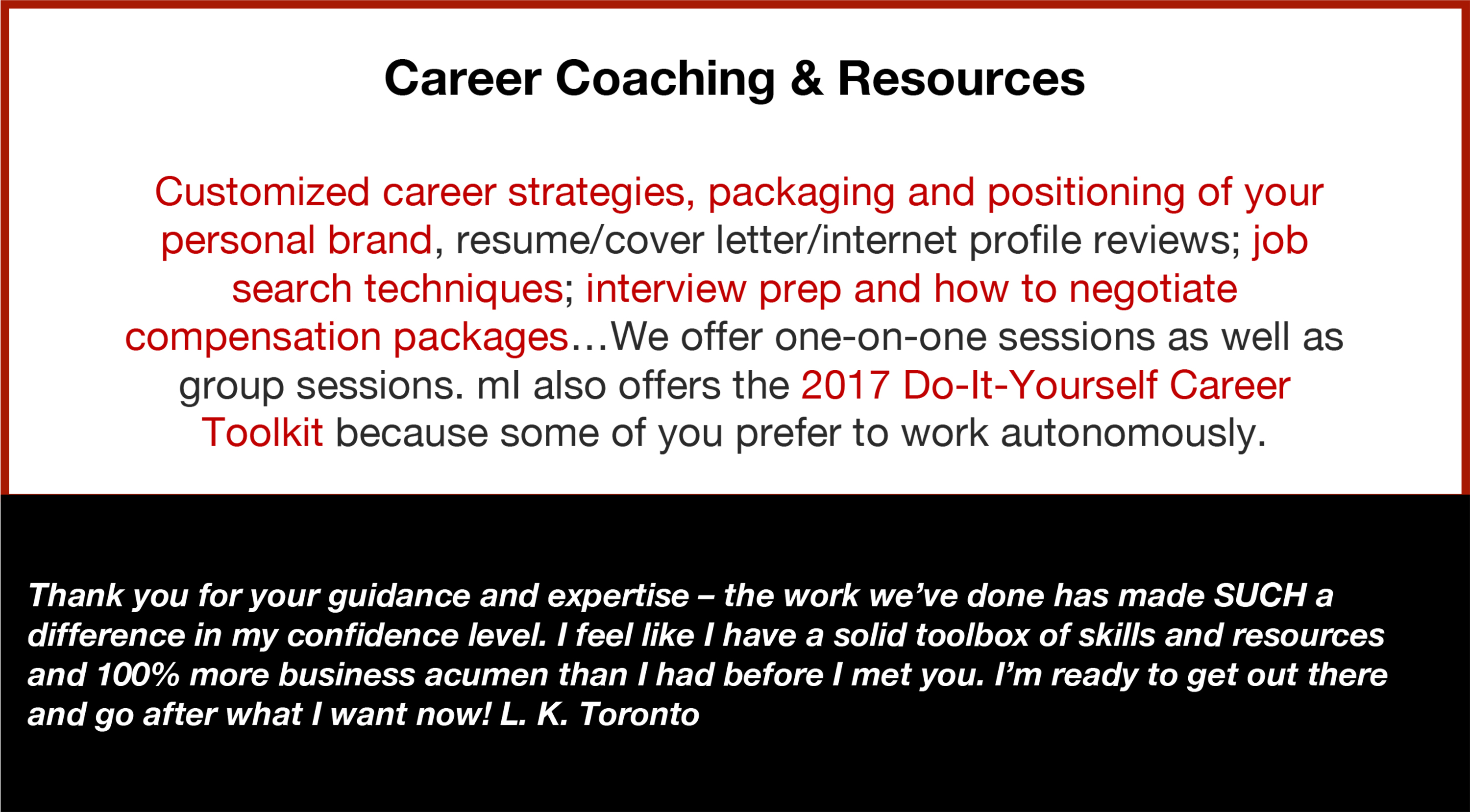 Career Services, Coaching, Resources, Strategies, Positioning, Brand
